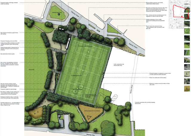 Landscape proposal of rotated sports pitch to allow for the Crossrail shaft construction