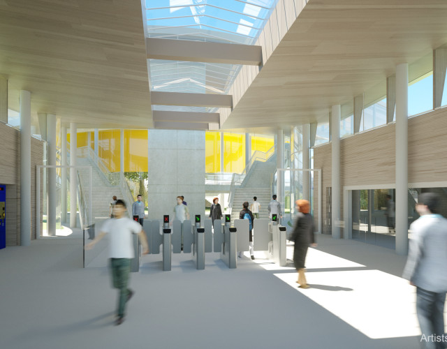 Image of Anew station providing sustainable access to regional and national destinations by rail, including the south-west, north-east, London and the Thames Valley