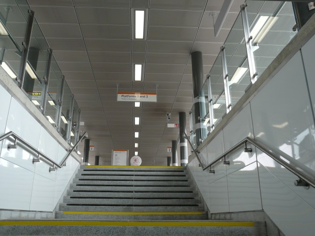 One of the three main stairs connecting the platform to Stratford Olympic site and Station