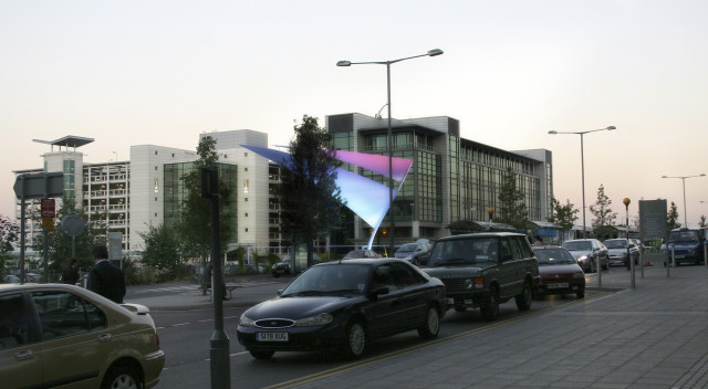 Dusk view (photomontage) of the wayfinding proposal at Birmingham Airport