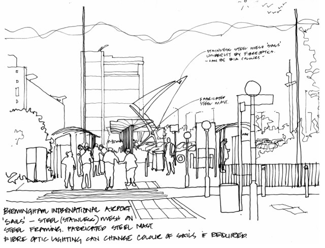 Hand drawing of the wayfinding proposal at Birmingham Airport