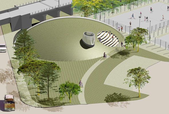 Birds eye visual of mound with terracing to overlook sports pitches