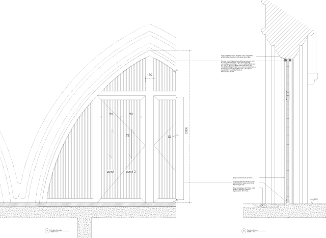 Drawn detail of new units within existing church arches