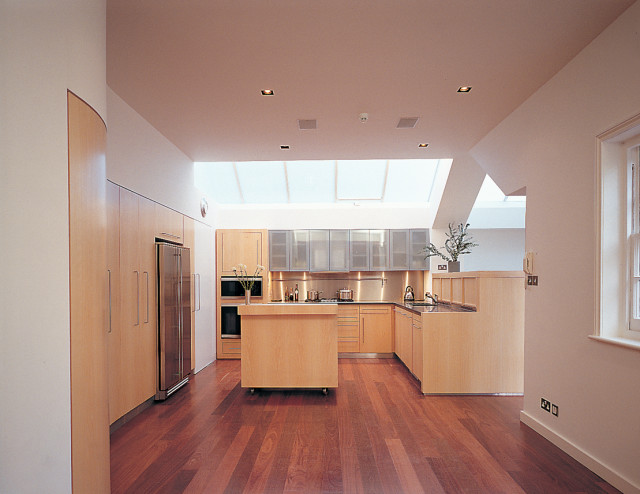Kitchen view with roof lights above
