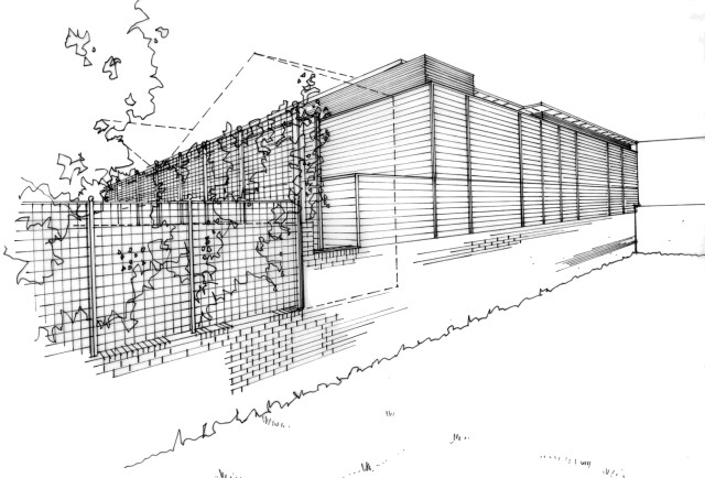 Hand drawing of the proposal from within a neighbouring garden