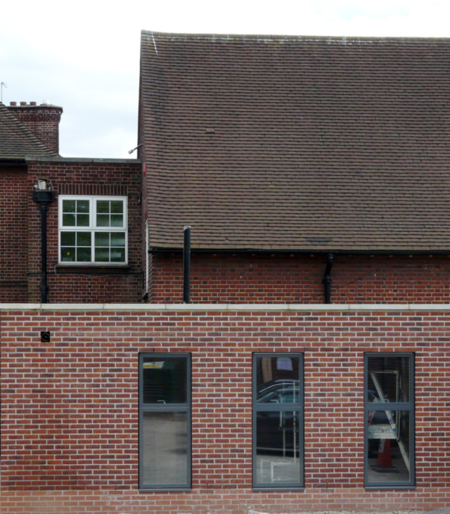 Old & New: Interface of the completed ancillary accommodation spaces with the existing school building